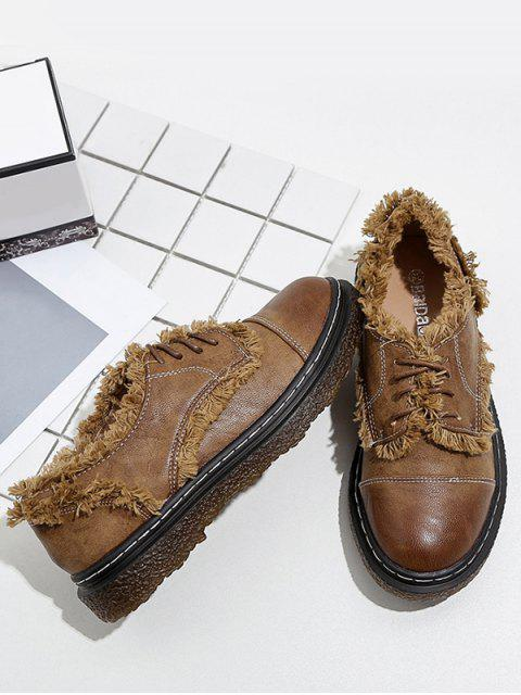 shops Stitching Fringe Tie Up Flat Shoes - BROWN 37 Mobile