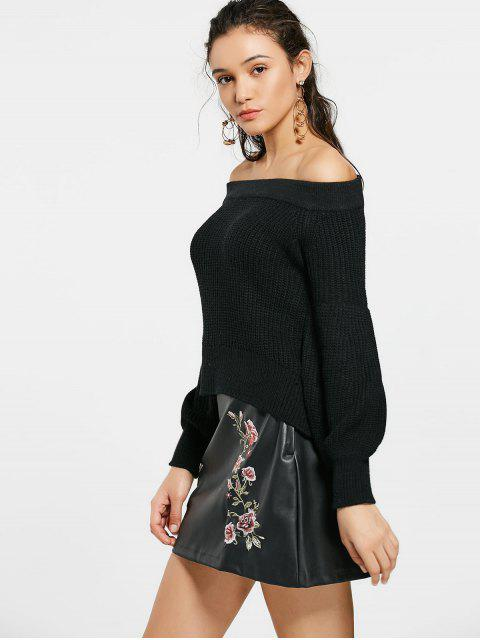 women's Lantern Sleeve Off The Shoulder Sweater - BLACK ONE SIZE Mobile