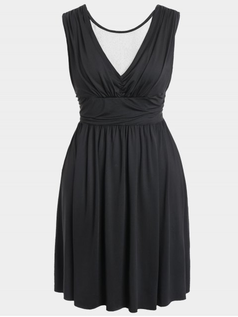 women's Ruched Back Low Cut Plus Size Dress - BLACK 3XL Mobile