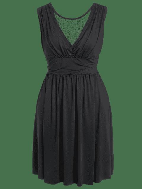 Ruched Back Low Cut Plus Size Dress - Noir 2XL Mobile