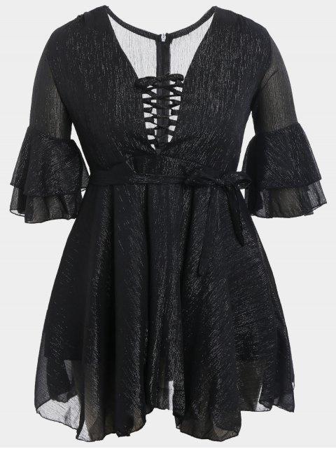 online Flare Sleeve Plus Size Lace Up Dress - BLACK 3XL Mobile