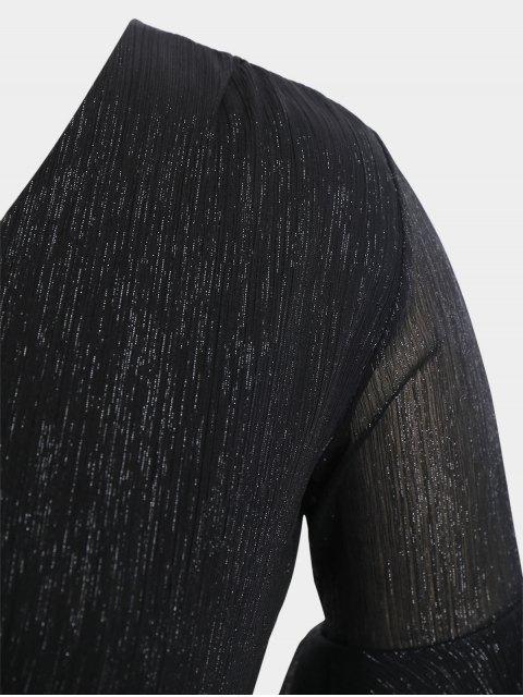 Flare Sleeve Plus Size Lace Up Dress - Noir 3XL Mobile