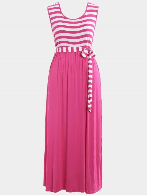 new Plus Size Striped Belted Maxi Dress - TUTTI FRUTTI XL Mobile