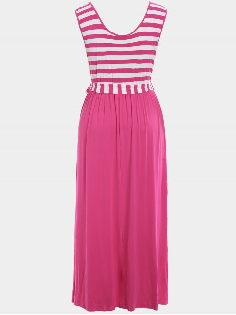 outfit Plus Size Striped Belted Maxi Dress - TUTTI FRUTTI 3XL Mobile