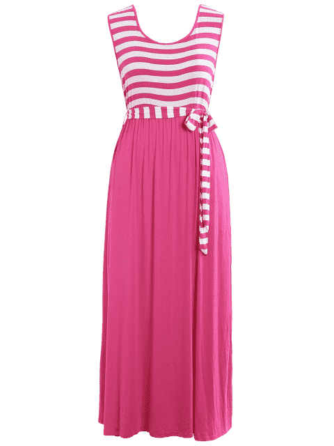outfits Plus Size Striped Belted Maxi Dress - TUTTI FRUTTI 4XL Mobile