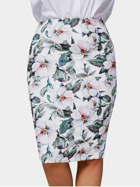 chic Plus Size Floral Pencil Skirt - MULTICOLOR 2XL Mobile