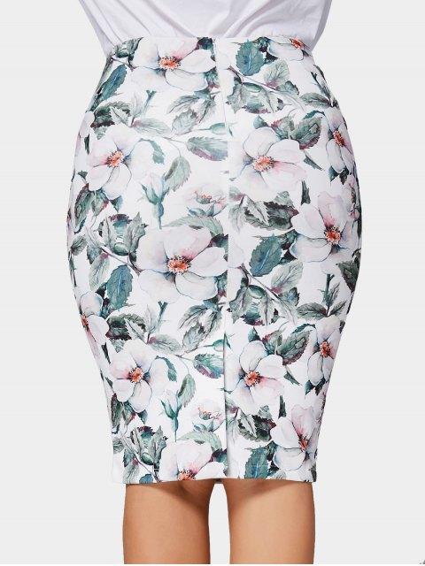 fancy Plus Size Floral Pencil Skirt - MULTICOLOR 3XL Mobile