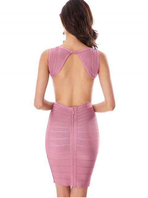 new Halter Open Back Bodycon Bandage Dress - PINK S Mobile