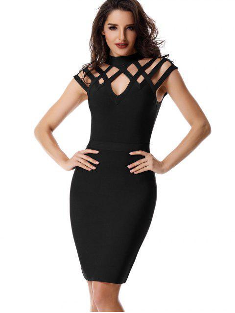 buy High Neck Cut Out Bandage Dress - BLACK M Mobile