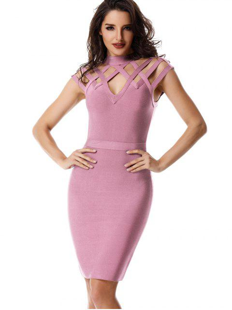 ladies High Neck Cut Out Bandage Dress - PINK S Mobile