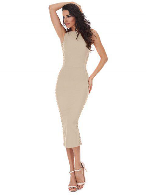 ladies Hollow Out Sleeveless Slit Bandage Dress - APRICOT L Mobile