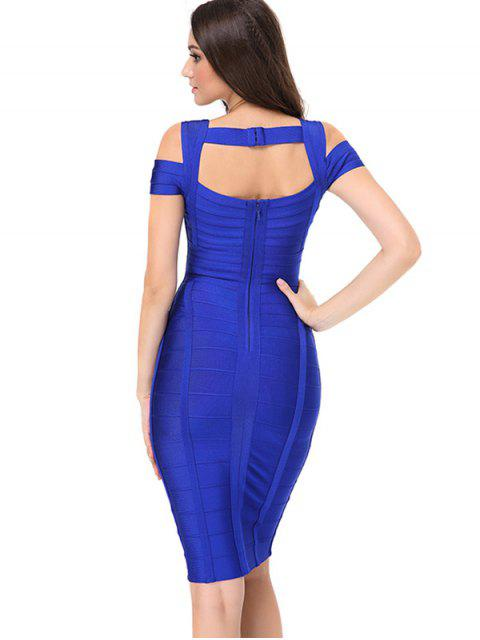 hot Sweetheart Neck Cut Out Bandage Dress - BLUE L Mobile