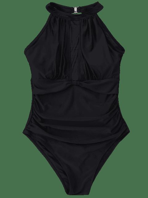 fashion Mesh Panel High Neck One Piece Swimsuit - BLACK L Mobile