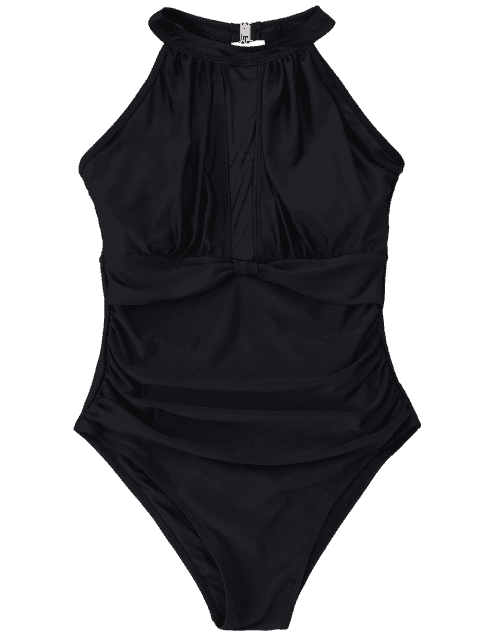 chic Mesh Panel High Neck One Piece Swimsuit - BLACK M Mobile