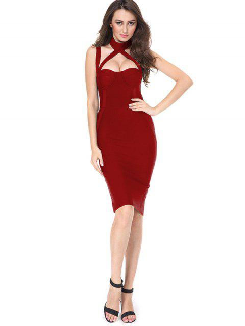shop Cut Out Back Slit Fitted Dress - RED L Mobile
