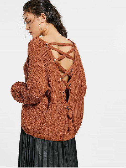 womens Back Lace Up Drop Shoulder Sweater - COFFEE ONE SIZE Mobile