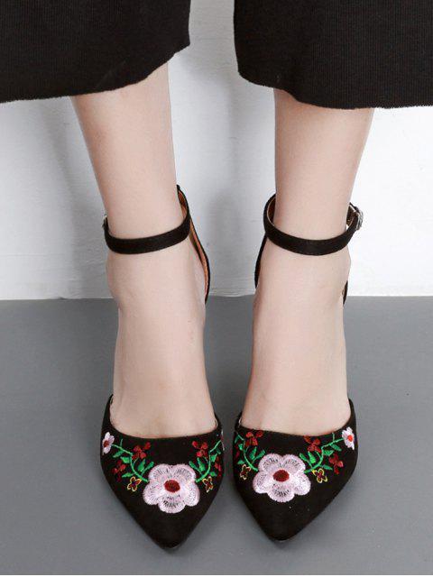 women's Embroidery Block Heel Two Piece Pumps - BLACK 39 Mobile