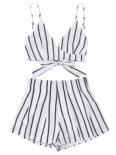 hot Striped Cami Wrap Top with Shorts - WHITE XL Mobile
