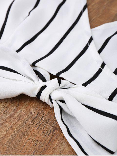 Cami Top Enveloppant à Rayures avec Short - Blanc L Mobile