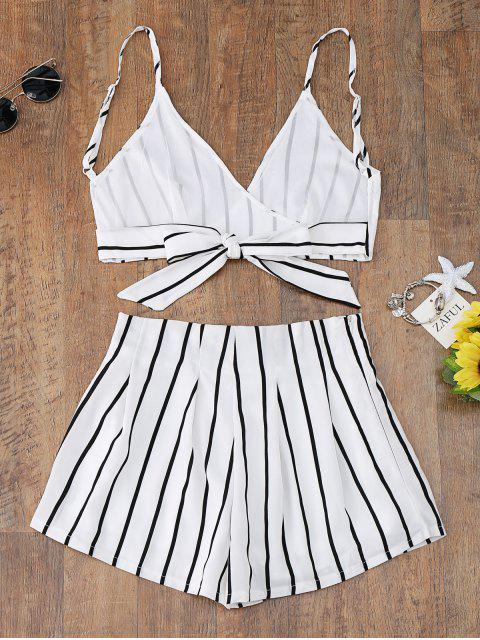 outfit Striped Cami Wrap Top with Shorts - WHITE L Mobile