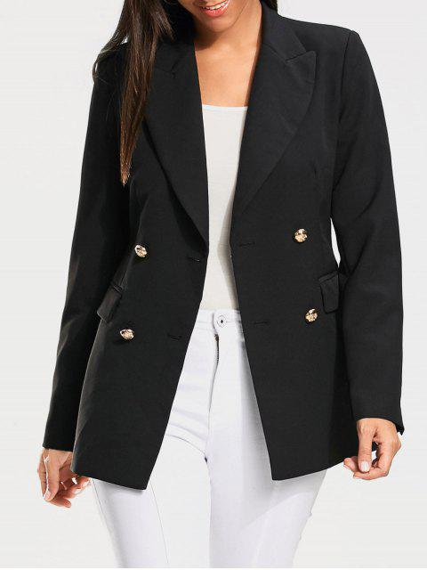 shop Casual Double Breasted Plain Blazer - BLACK XL Mobile