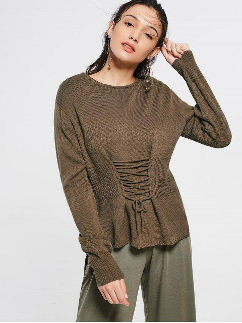 women's Lace Up Long Sleeve Sweater - COFFEE ONE SIZE Mobile