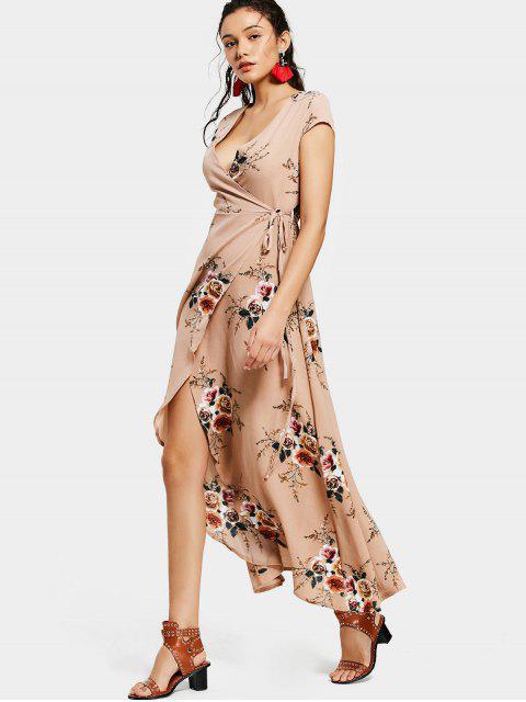 fancy Floral Asymmetrical Wrap Maxi Dress - FLORAL M Mobile