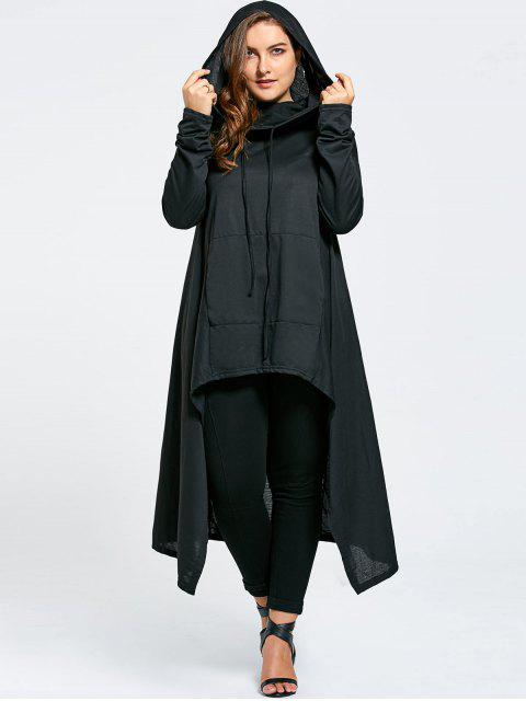 affordable Plus Size Funnel Collar Maxi Asymmetric Hoodie - BLACK 7XL Mobile