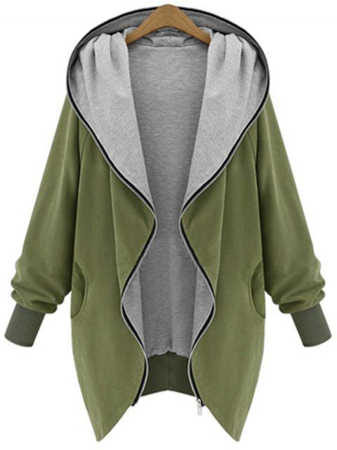 ladies Zip Up Plus Size Hooded Coat - ARMY GREEN 2XL Mobile