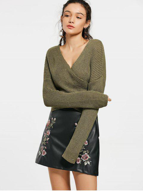 Drop Shoulder Plain Wrap Sweater - Verde del ejército Única Talla Mobile
