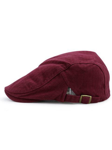 lady Checked Nostalgic Flat Hat - WINE RED  Mobile