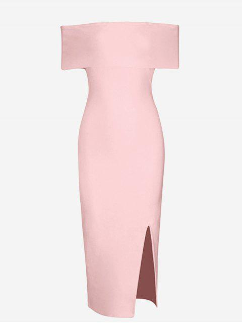 Off The Shoulder Side Slit Vestido Ajustado - Rosa L Mobile