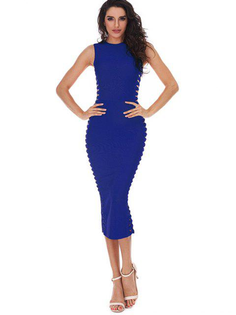 Hollow Out sin mangas Slice vendaje vestido - Azul L Mobile