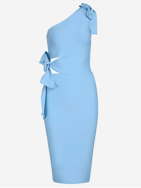 fashion One Shoulder Cut Out Fitted Dress - SKY BLUE M Mobile