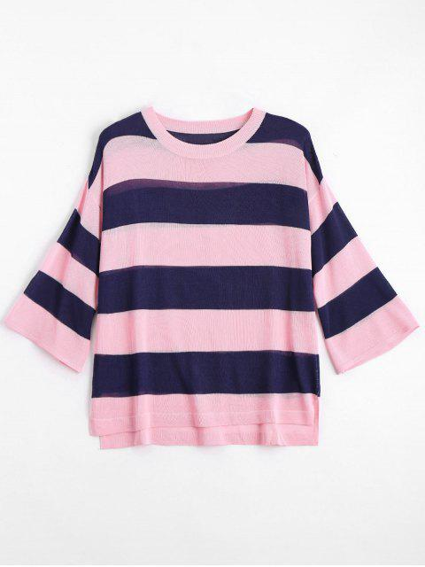 fancy Loose Stripes Crew Neck Sweater - PINK L Mobile