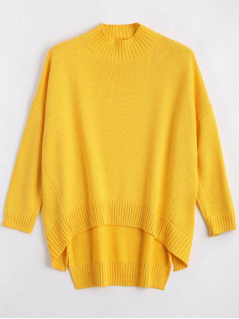 Übergröße Hoher Niedriger Pullover mit Hochhals - Gelb S Mobile