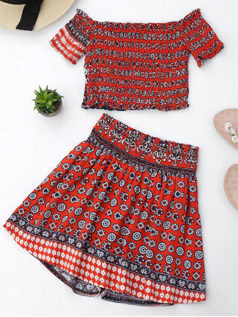 outfit Tribal Print Crop Top and Skorts Set - RED L Mobile