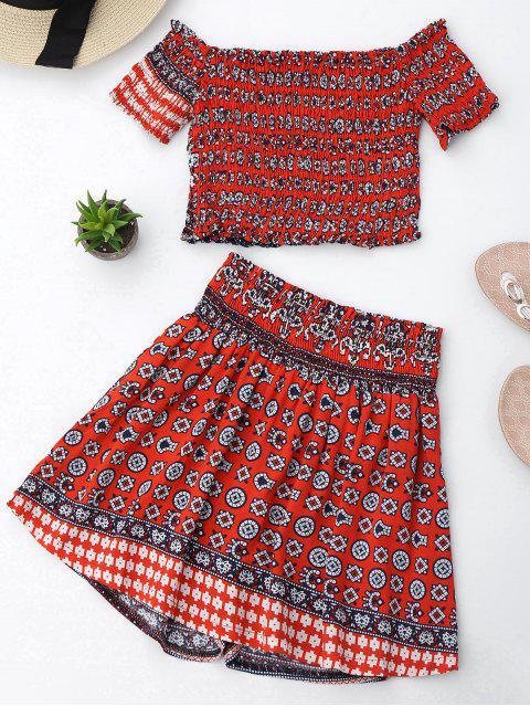 shop Tribal Print Crop Top and Skorts Set - RED M Mobile