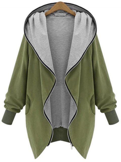 Zip Up Capa con capucha de talla grande - Verde del ejército 4XL Mobile