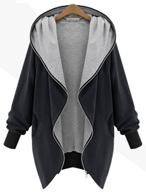 Zip Up Plus Size Kapuzenmantel - Schwarz 2XL Mobile