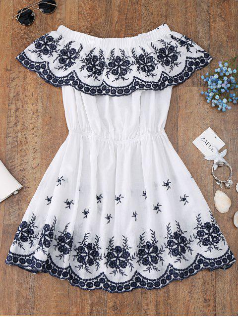 Vestido largo con hombros descubiertos bordados - Blanco S Mobile