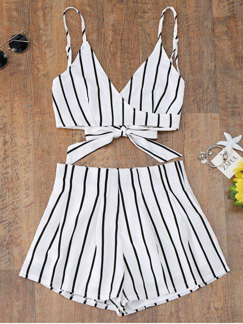 outfits Striped Cami Wrap Top and Shorts - WHITE M Mobile