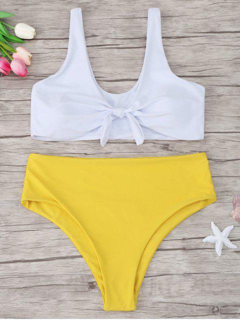 lady Two Tone Plus Size Tied Bikini - YELLOW 2XL Mobile