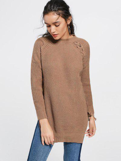 Lace Up Side Slit Long Sweater - Dark Khaki