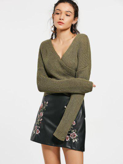 Drop Shoulder Plain Wrap Sweater - Army Green