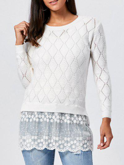Lace Panel Hollow Out Argyle Ribbed Pullover Sweater