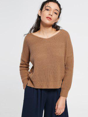 V Neck Side Lace Up Sweater - Khaki
