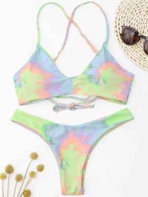 Tie Dye Braided Criss Cross Bikini Set - Light Yellow M