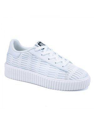 Ata Para Arriba Los Zapatos Atléticos Respirables De La Malla - Blanco 39