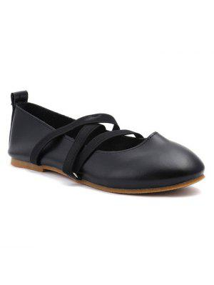 Elastic Band Faux Leather Flat Shoes - Black 39